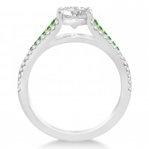 Emerald & Diamond Engagement Ring 14k Two Tone Gold (0.33ct)