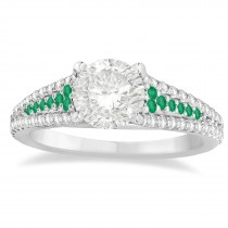 Emerald & Diamond Three Row Engagement Ring Platinum (0.33ct)