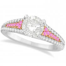 Pink Sapphire & Diamond Engagement Ring 14k Two Tone Rose Gold 1.33ct