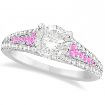 Pink Sapphire & Diamond Engagement Ring 18k White Gold (1.33ct)