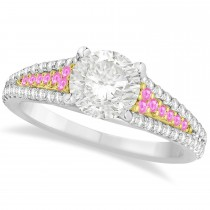 Pink Sapphire & Diamond Engagement Ring 18k Two Tone Gold (1.33ct)