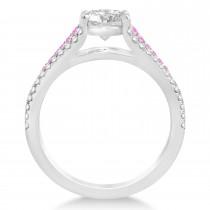 Pink Sapphire & Diamond Engagement Ring 14k White Gold (0.33ct)