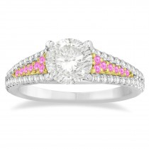 Pink Sapphire & Diamond Engagement Ring 18k Two Tone Gold (0.33ct)