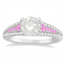 Pink Sapphire & Diamond Three Row Engagement Ring Palladium (0.33ct)