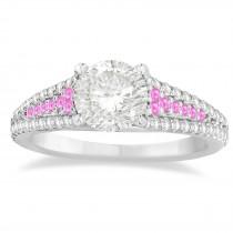 Pink Sapphire & Diamond Three Row Engagement Ring Platinum (0.33ct)