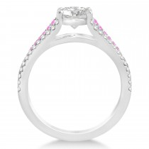 Pink Sapphire & Diamond Three Row Engagement Ring Platinum (0.33ct)