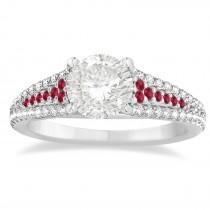Ruby & Diamond Engagement Ring 14k White Gold (0.33ct)