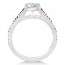 Ruby & Diamond Three Row Engagement Ring Palladium (0.33ct)