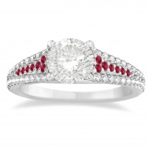 Ruby & Diamond Three Row Engagement Ring Platinum (0.33ct)