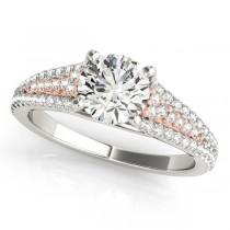 Diamond Accented Three Row Bridal Set 14k Two Tone Rose Gold (1.47ct)