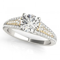 Diamond Accented Three Row Bridal Set 14k Two Tone Yellow Gold 1.47ct