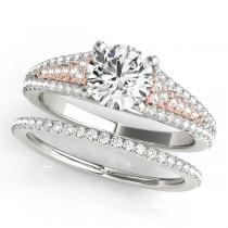 Diamond Accented Three Row Bridal Set 18k Two Tone Rose Gold (1.47ct)