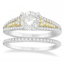 Diamond Accented Three Row Bridal Set 14k Two Tone Gold (0.47ct)