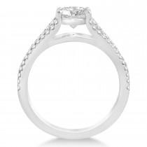 Diamond Three Row Engagement Ring Bridal Set 14k White Gold (0.47ct)