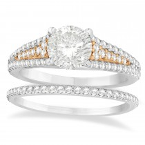 Diamond Accented Three Row Bridal Set 18k Rose Gold (0.47ct)