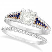 Blue Sapphire and Diamond Bridal Set 18k Two Tone Rose Gold (1.47ct)