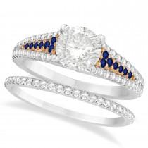 Blue Sapphire and Diamond Bridal Set 18k Two Tone Rose Gold (1.47ct)