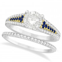 Blue Sapphire and Diamond Bridal Set 18k Two Tone Yellow Gold (1.47ct)