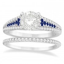 Blue Sapphire & Diamond 3 Row Bridal Set 14k White Gold (0.47ct)