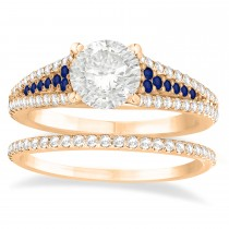 Blue Sapphire & Diamond 3 Row Bridal Set 14k Rose Gold (0.47ct)