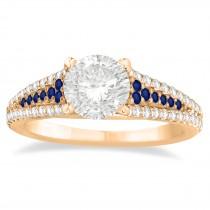 Blue Sapphire & Diamond 3 Row Bridal Set 14k Rose Gold (0.47ct)