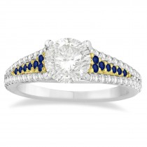 Blue Sapphire & Diamond 3 Row Bridal Set 14k Two Tone Gold (0.47ct)