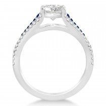 Blue Sapphire & Diamond 3 Row Bridal Set 14k White Gold (0.47ct)