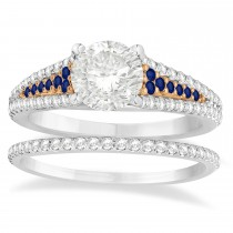 Blue Sapphire & Diamond 3 Row Bridal Set 18k Rose Gold (0.47ct)
