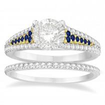 Blue Sapphire & Diamond 3 Row Bridal Set 18k Two Tone Gold (0.47ct)