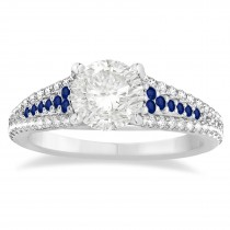 Blue Sapphire & Diamond 3 Row Bridal Set 18k White Gold (0.47ct)