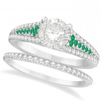 Emerald and Diamond Engagement Ring Bridal Set 14k White Gold (1.47ct)
