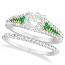 Emerald and Diamond Bridal Set 14k Two Tone Yellow Gold (1.47ct)