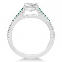 Emerald and Diamond Engagement Ring Bridal Set 14k White Gold (1.47ct)