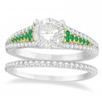 Emerald & Diamond 3 Row Bridal Set 14k Two Tone Gold (0.47ct)