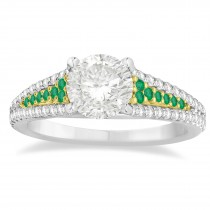 Emerald & Diamond 3 Row Bridal Set 14k Two Tone Gold (0.47ct)
