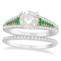 Emerald & Diamond 3 Row Bridal Set 18k Rose Gold (0.47ct)