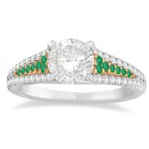 Emerald & Diamond 3 Row Bridal Set 18k Rose Gold (0.47ct)