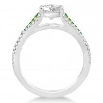 Emerald & Diamond 3 Row Bridal Set 18k Two Tone Gold (0.47ct)