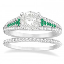Emerald & Diamond 3 Row Bridal Set Palladium (0.47ct)