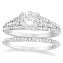 Diamond Accented Three Row Bridal Set Palladium (0.47ct)
