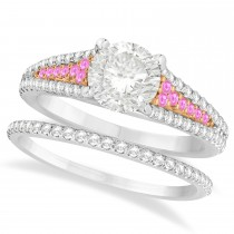 Pink Sapphire and Diamond Bridal Set 14k Two Tone Rose Gold (1.47ct)