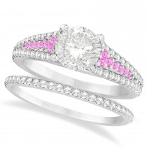 Pink Sapphire and Diamond Bridal Set 18k White Gold (1.47ct)
