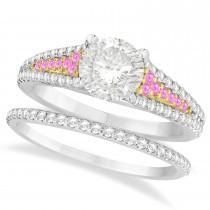 Pink Sapphire and Diamond Bridal Set 18k Two Tone Yellow Gold (1.47ct)