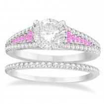 Pink Sapphire & Diamond 3 Row Bridal Set 14k White Gold (0.47ct)