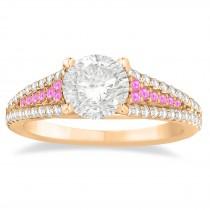 Pink Sapphire & Diamond 3 Row Bridal Set 14k Rose Gold (0.47ct)