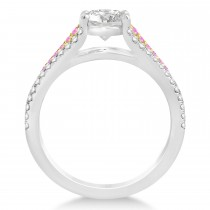Pink Sapphire & Diamond 3 Row Bridal Set 14k Two Tone Gold (0.47ct)