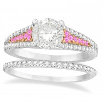 Pink Sapphire & Diamond 3 Row Bridal Set 18k Rose Gold (0.47ct)