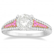 Pink Sapphire & Diamond 3 Row Bridal Set 18k Two Tone Gold (0.47ct)