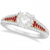 Ruby and Diamond Bridal Set 14k Two Tone Rose Gold (1.47ct)