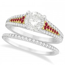 Ruby and Diamond Bridal Set 18k Two Tone Yellow Gold (1.47ct)